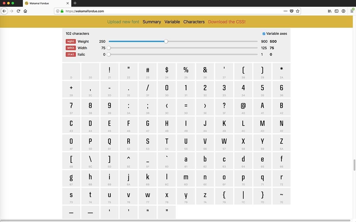 Wakamaifondue VF font character listing